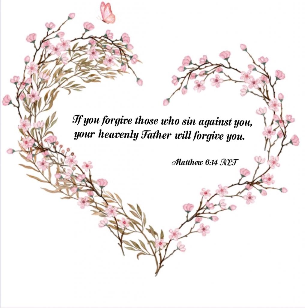 matthew 6:14 forgiveness cherry blossoms heart
